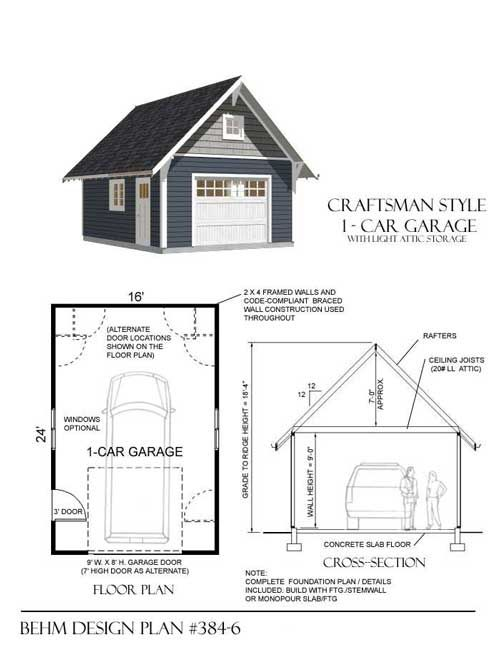 Craftsman style 1 car garage plan no 384 6 by behm design for 16x24 garage kit