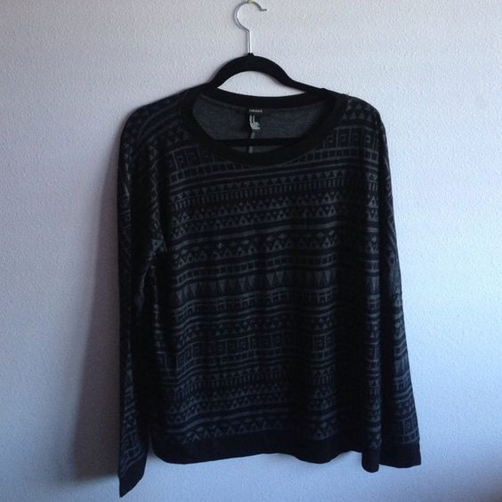 Black & Gray Forever21 Tribal Crewneck Sweatshirt Black and gray tribal Crewneck sweatshirt from forever21. Very lightweight and soft- worn a few times but in great condition. No defects or stains.  This top is perfect with light was jeans, green military jacket, and Birkenstocks!  60% Polyester 36% Rayon 4% Spandex                                                        Size Medium Forever 21 Sweaters Crew & Scoop Necks