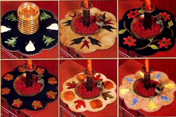 Seasons of Change - Wool Applique Candlemats