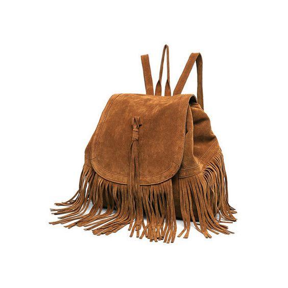 Tassel Embellished Khaki Backpack