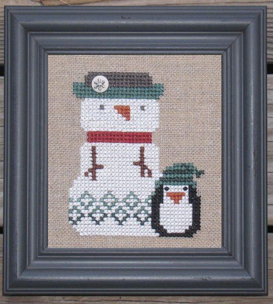 Bent Creek - Lil P + The Snowman [BCZ153] - $20.00 : Laurel's Stitchery, The best little stitchery shop on the internet!