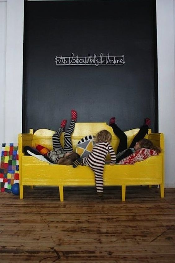 yellow daybed   chalkboard wall // kids room