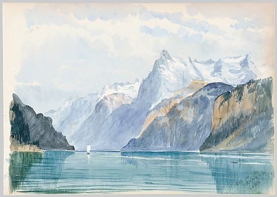 John Singer Sargent (American, 1856–1925). Bay of Uri, Brunnen (from Switzerland 1870 Sketchbook),June 4, 1870. The Metropolitan Museum of Art, New York. Gift of Mrs. Francis Ormond, 1950 (50.130.148l) #snow: