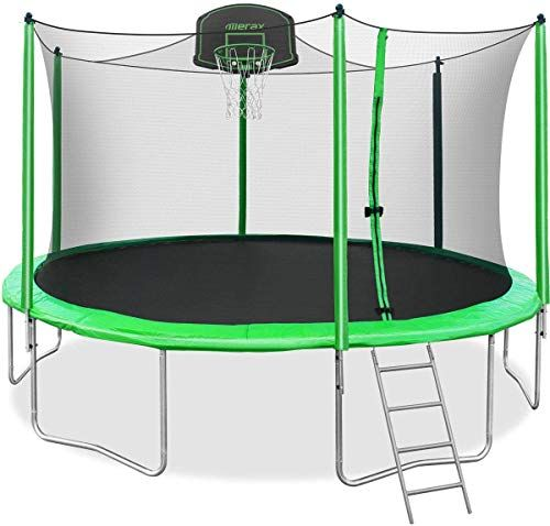 Buy Merax 12ft 14ft Trampoline Safety Enclosure Net Basketball Hoop Ladder Trampoline Kids Online Thetophitsseller In 2020 Best Trampoline Kids Trampoline Trampoline Safety