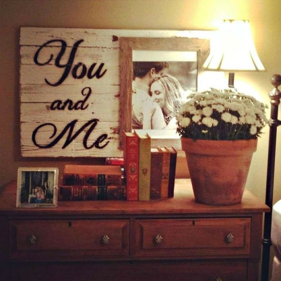 Wand-Deko blumentopf Licht-Beistelltisch schlafzimmer ideen