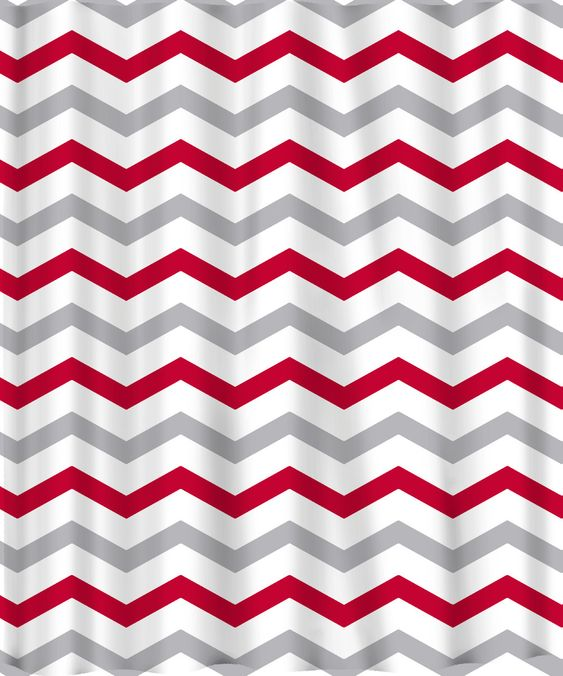 Custom Colors Shower Curtain Chevron Or Stripes Red Grey And White ANY Col