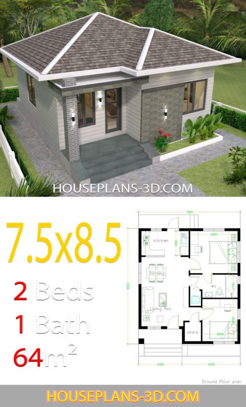 House Design 7 5x8 5 With 2 Bedrooms House Plans S House Plans Bedroom House Plans Small House Design Design of simple house plan