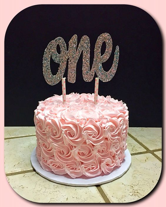 Pink rosette cake for a sweet one year old :):
