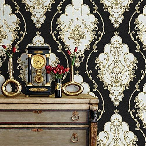 Jz27 Luxury Damask Wallpaper Rolls Black Gold Silver Embossed Texture Victorian Wall Paper Gold And Silver Wallpaper Damask Wallpaper Floral Wallpaper Bedroom
