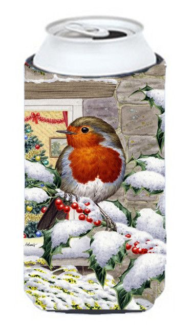European Robin at the Window Tall Boy Beverage Insulator Hugger ASA2089TBC