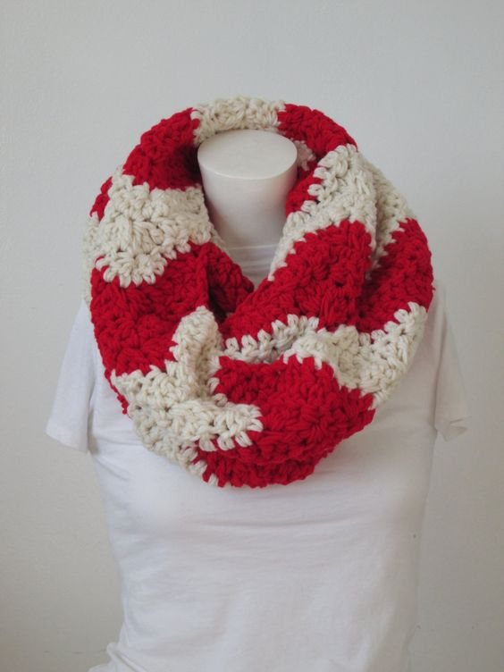 Chunky Wavy Infinity Scarf -Aran and Cherry Red...Free Matching beanie hat with pom poms by VansBasicWear on Etsy