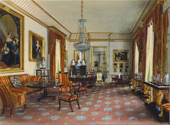 The Duchess of Kent's Sitting Room.  This room changed once Prince Alfred renovated – the window on the left was closed to make room for the widening of the building.    At that time, the fireplace was moved, also.   This room is decorated to coordinate with the Large Drawing Room.  The same velvet fabric was used in both rooms along with the same consoles, though the carpet and chandeliers are different.