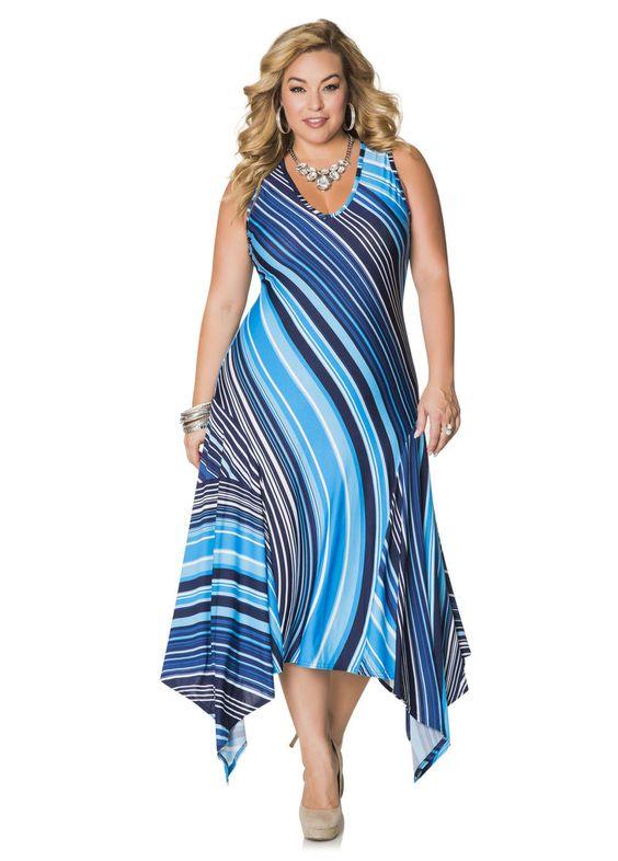 Striped Hanky Hem Maxi Dress-Plus Size Dresses-Ashley Stewart