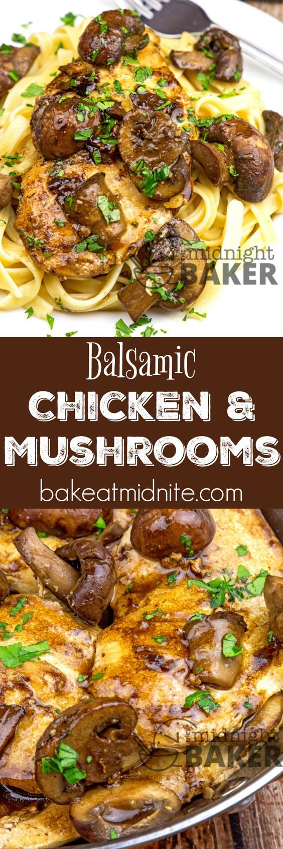 30 Minute Balsamic Chicken & Mushrooms Dinner Recipe via Midnight Baker - Delicious restaurant-quality balsamic chicken dinner ready in under 30 minutes! - The BEST 30 Minute Meals Recipes - Easy, Quick and Delicious Family Friendly Lunch and Dinner Ideas #30minutemeals #30minutedinners #thirtyminutedinners #30minuterecipes #fastrecipes #easyrecipes #quickrecipes #mealprep
