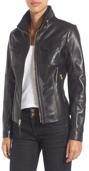 MICHAEL Michael Kors Front Zip Leather Jacket (Regular & Petite):