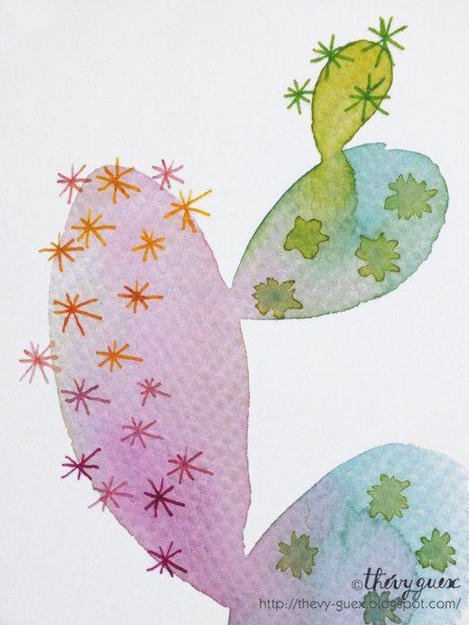Multicolor Colorful Minimal Cactus Watercolor by thevysherbarium