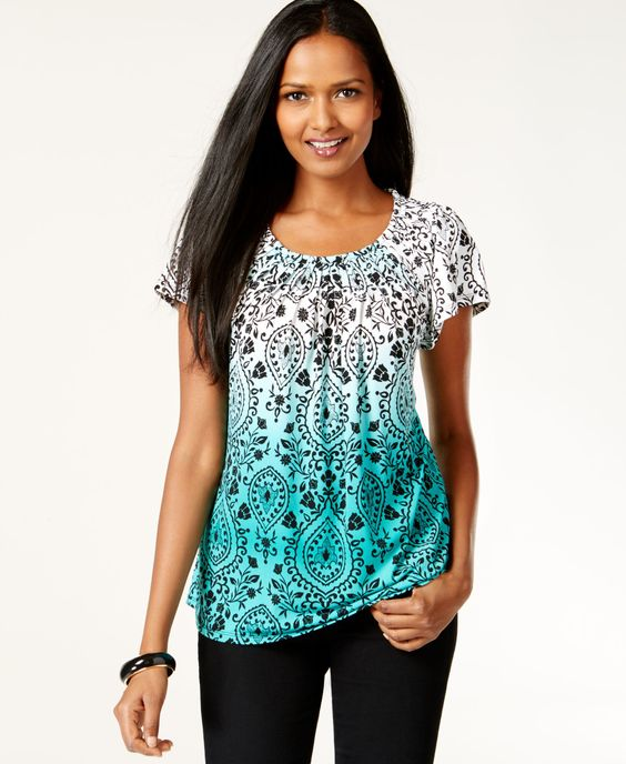Style & Co. Pleat Neck Ombre Paisley Top