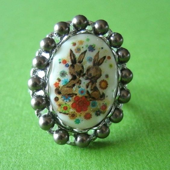 Bunny Pearl Cameo Ring by fiestykitty on Etsy, $16.00