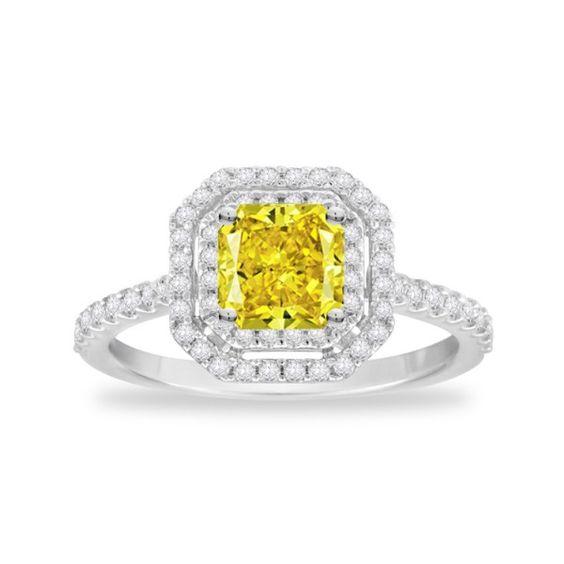 Gemesis Double Halo Fancy Radiant #Diamond #Ring. Setting Price: $1,147.50.