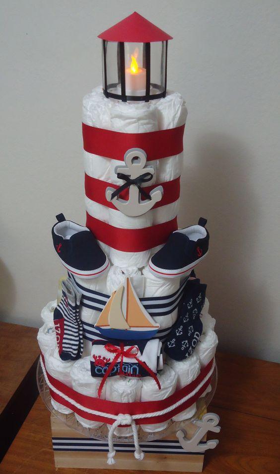Nautical Diaper Cake. With a real working tea light.