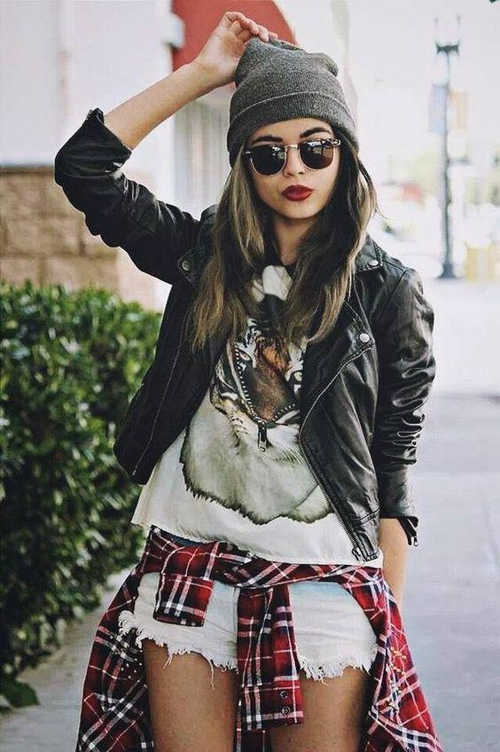 Grey Beanie + shorts + biker jacket + tiger T + check shirt around waist = amazing look