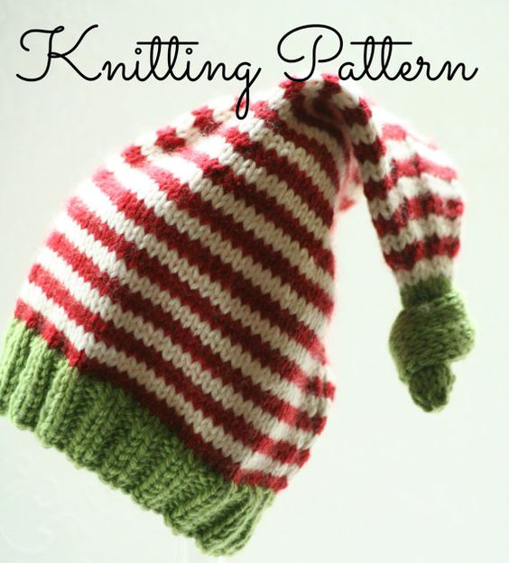 Knitting Pattern/DIY Instructions - Baby Christmas Elf Hat Yarns, Knitting ...
