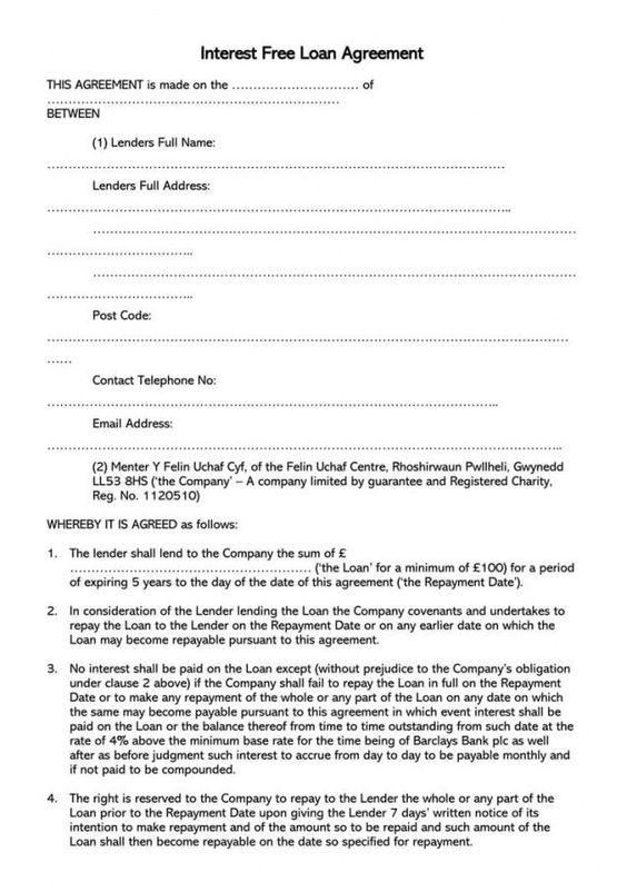 Explore Our Image Of Collateral Agreement Template Contract Template Rental Agreement Templates Loan