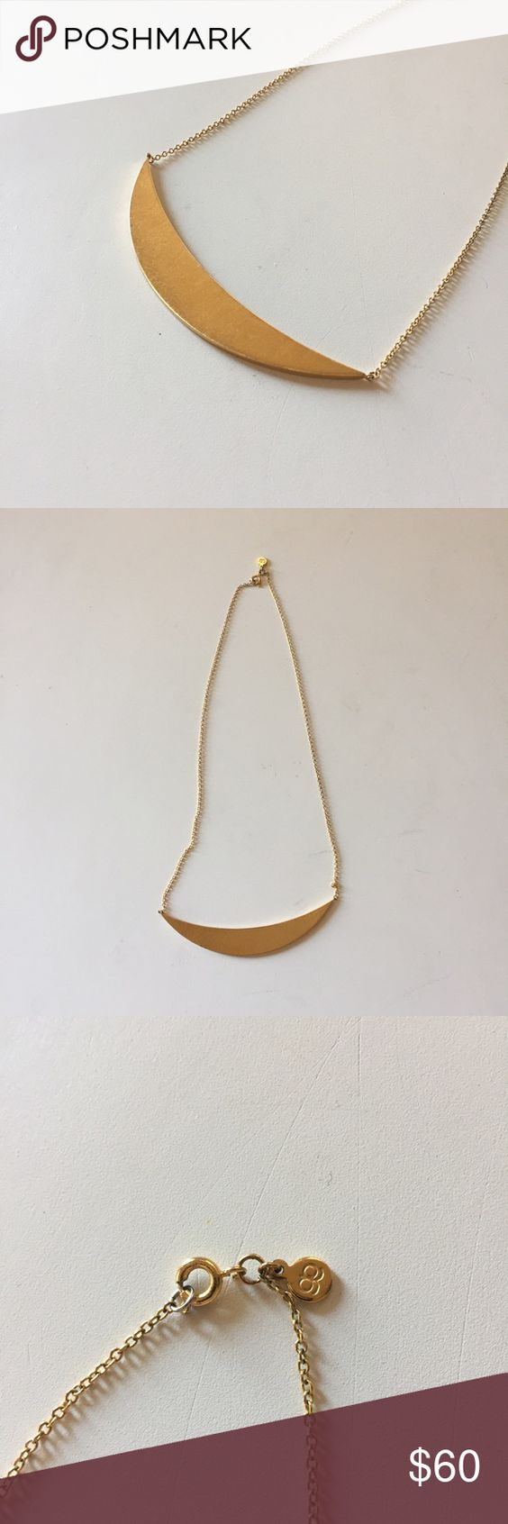 "GORJANA Crescent Plate Necklace The perfect gold accent piece. Matte 18k gold plated. 20"". Plate is 3.5"" across and 0.5"" tall. Spring ring closure. Like new condition! Gorjana Jewelry Necklaces"