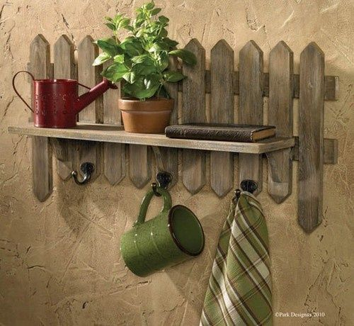 Picket Fence Herb Garden Shelf with Hooks