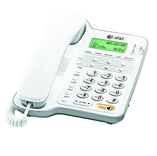 ATu0026T Corded Phone With Speakerphone And Caller ID/Call Waiting, White: ATu0026T  Corded Phone, White, 1 Handset