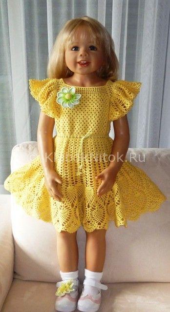 Желтое платье | Вязание для девочек | Вязание спицами и крючком. Схемы вязания.