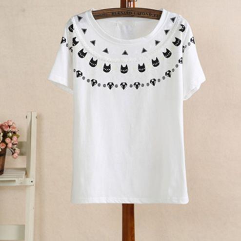 Fashion cute cartoon cat t-shirts
