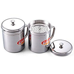 @Overstock - Don't waste your cooking oil or fat with this stainless steel storage container. With a filter to remove particles, you can enjoy delicious fried meals again and again.http://www.overstock.com/Home-Garden/Stainless-Steel-1.5-quart-Oil-Storage-Container/5222859/product.html?CID=214117 $17.62