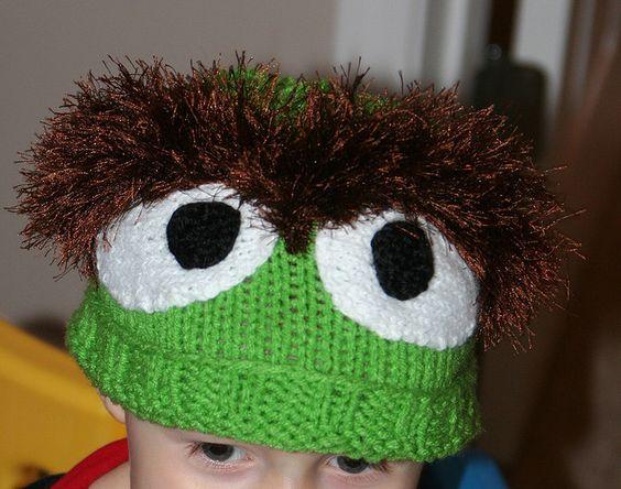 Oscar the grouch: Hats Headbands, Hats Character, Crocheting Knitting, Crochet Oscar The Grouch Hat, Knitting Free Patterns, Crochet Patterns, Knit Hats, Knitted Hat Patterns, Knit Patterns