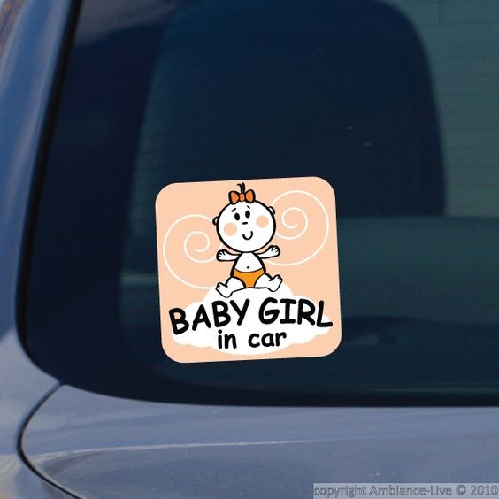 This little girl in car #decal can give you decorating ideas for the car and nursery. #wall #stickers
