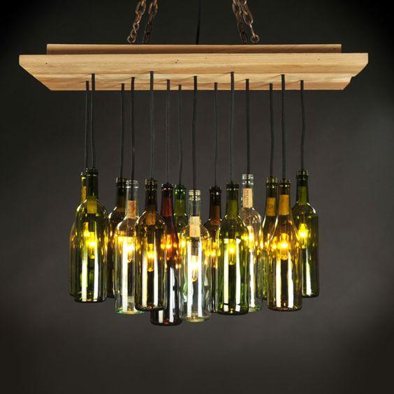 Wine bottle chandelier dining room pinterest the two countertops and design - Wine bottles chandelier ...