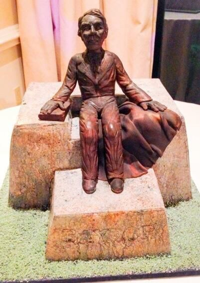 A grooms cake in the shape of the #JudgeBaylor statue? Now that's #BaylorProud.