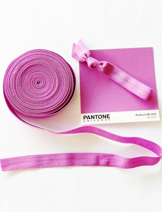 Fold Over Elastic by the Yard Radiant Orchid by LuckyGirlHairTies, $1.95