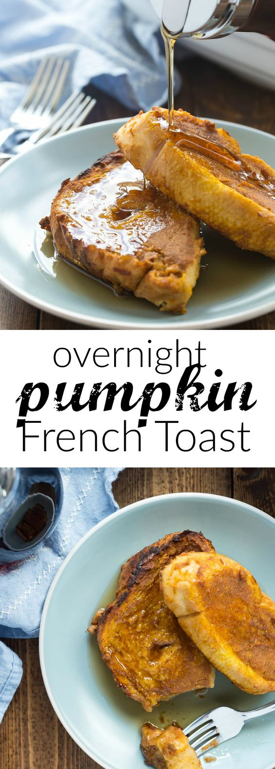 THIS is the fall breakfast you need! This Overnight Pumpkin French Toast is so easy — you can make ahead for holiday gatherings and brunches and bake together in one pan! Naturally sweetened and made with real ingredients.