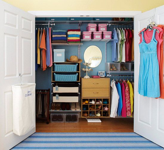 I love this closet, but I don't know that there's enough room for all my clothes - also, the bifold doors I have don't work with the door organization, so I have to hang dresses, other long things inside.