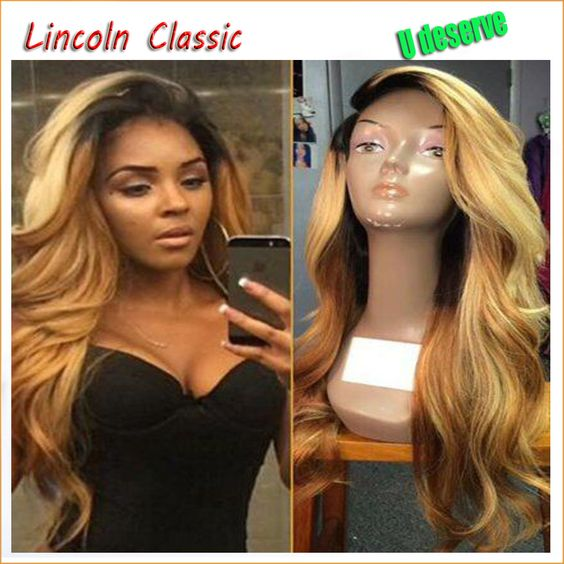 $150.00 (Buy here: http://appdeal.ru/db3v ) 1B#T27# Ombre Full lace wigs Virgin Brazilian Glueless Full Lace Wig With Baby Hair Natural Body Wave Human Hair Wigs For Black for just $150.00