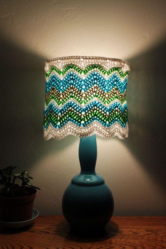 Chevron Lamp Shade 70s Style Crocheted Hippie Home Decor Housewares Lighting Blue Green White OOAK. via Etsy.