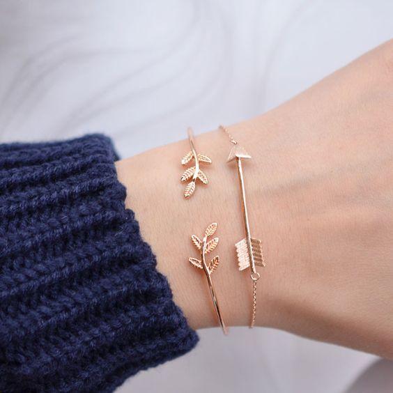 Majolie - Bracelet Jonc Laurier Or Rose – Majolie - Des bijoux prêts à offrir!: