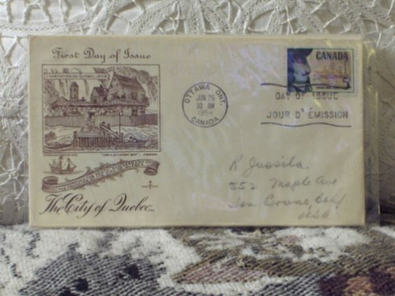 http://ajunkeeshoppe.blogspot.com/  First Day Issue/Cover-Stamp-City of Quebec Canada 1958 8ozP724B4HP1177