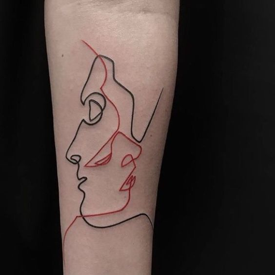 Black And Red One Lined Portrait Tattoos On The Arm Www Otziapp Com Line Tattoos Single Line Tattoo Line Art Tattoos