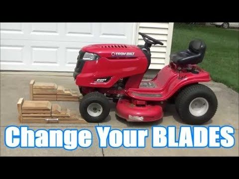 Change Your Riding Lawn Mower Blades Without Taking Off The Deck Troy Lawn Mower Lawn Mower Blades Riding Lawn Mowers