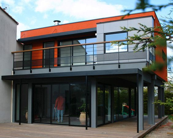 L Extension De Maison M Identifiable Grâce à Son Cube Rouge Architecture Pinterest Extensions