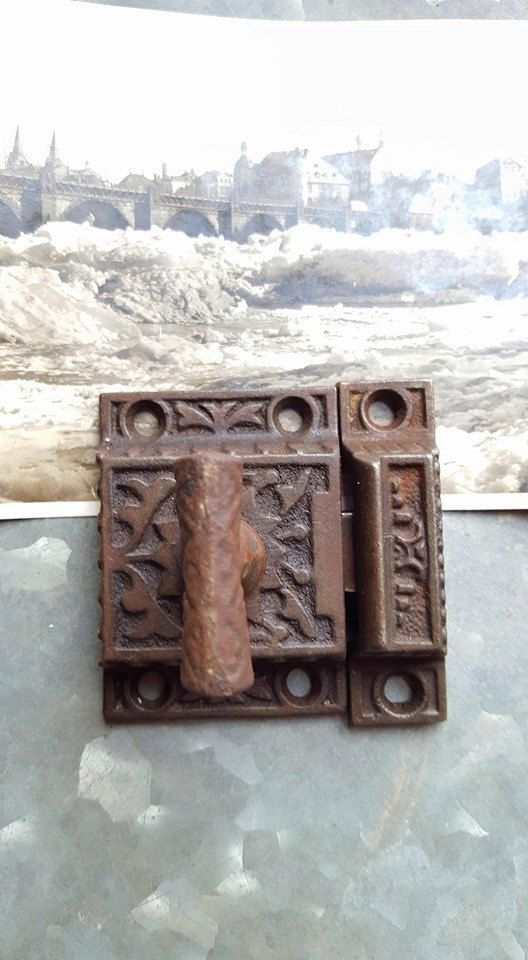Antique Cast Iron Cabinet Latch, Victorian Eastlake Turn Knob Lock by ElisabethMacBeth on Etsy