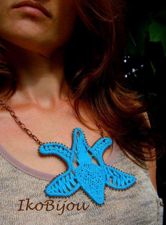 Lotus flower pendant neckless. Romanian point lace. IkoBijou.breslo.ro