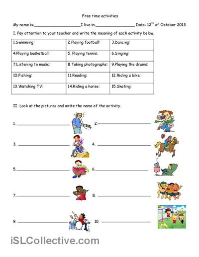 Free time activities worksheet - Free ESL printable worksheets ...